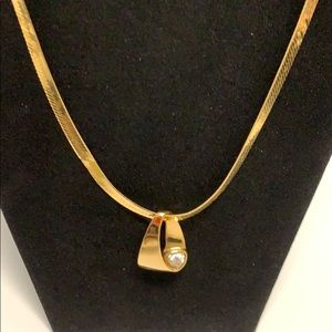Jewelry - STUNNING GOLD NECKLACE/923 STAMPED CRYSTAL SLIDER